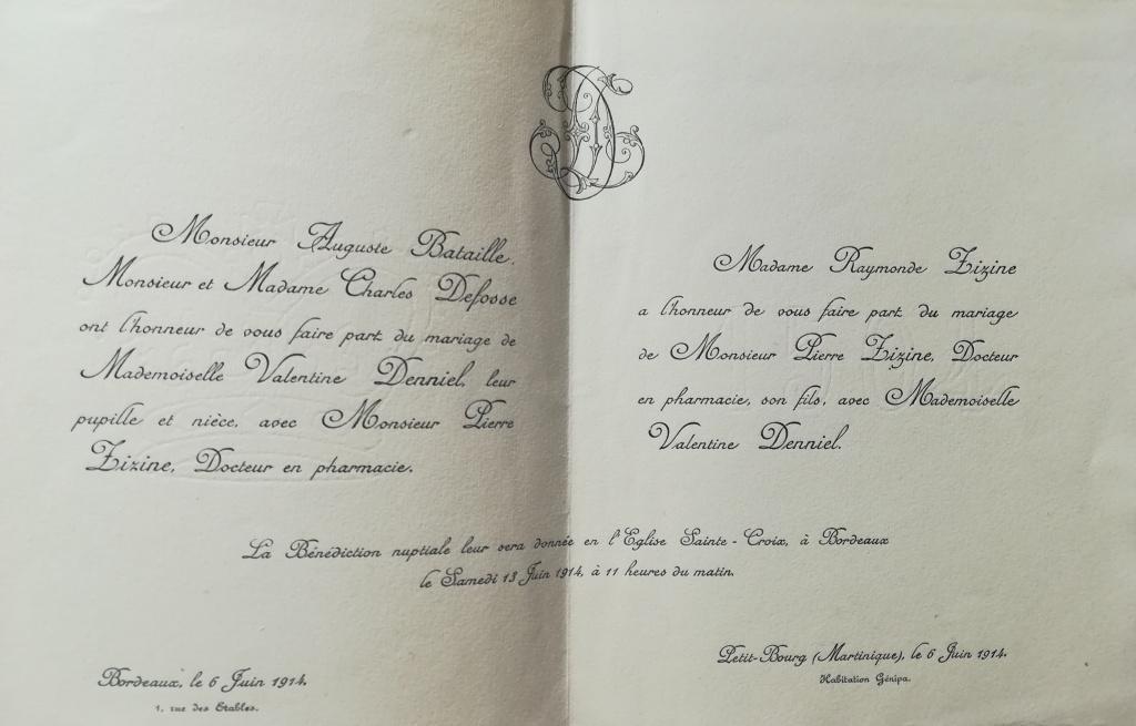 Faire-part de mariage de Pierre Zizine et Valentine Denniel