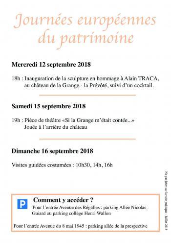 Programme Journées du patrimoine 2018
